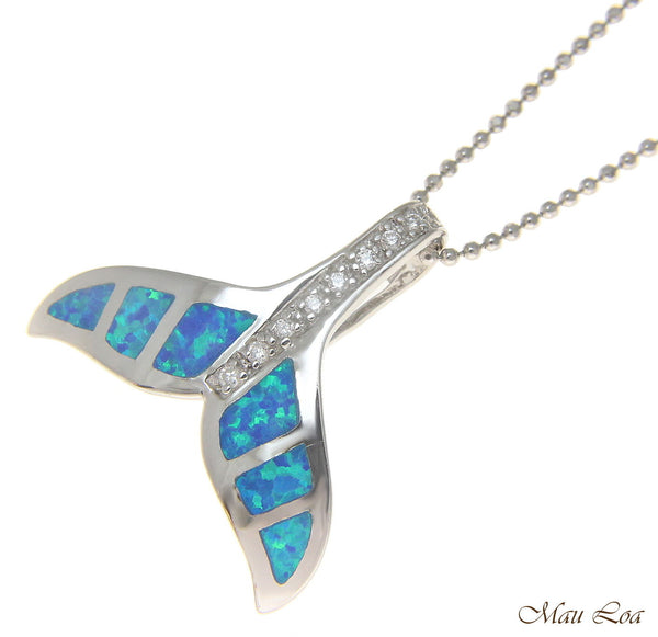 925 Sterling Silver Rhodium Hawaiian Whale Tail Opal CZ Slider Pendant