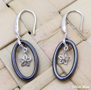 925 Silver Rhodium Hawaiian Plumeria Flower Black Ceramic Oval Hook Earrings
