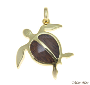 Koa Wood Hawaiian Honu Sea Turtle Yellow Gold Plated Brass Pendant