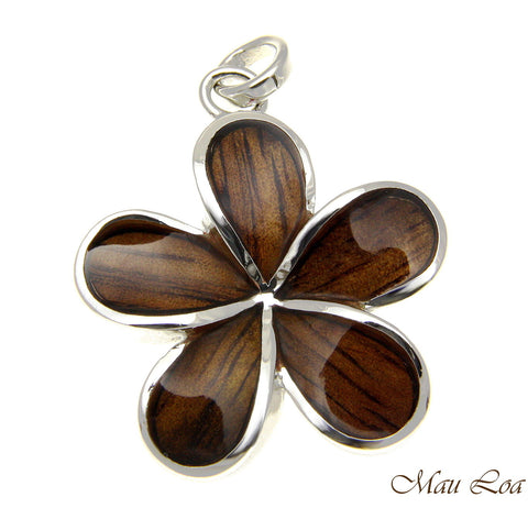 Koa Wood Hawaiian 28mm Plumeria Flower Rhodium Silver Plated Brass Pendant