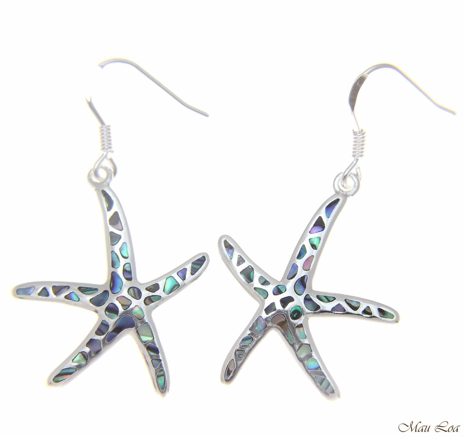 925 Sterling Silver Hawaiian Starfish Sea Star Abalone Shell Paua Hook Earrings