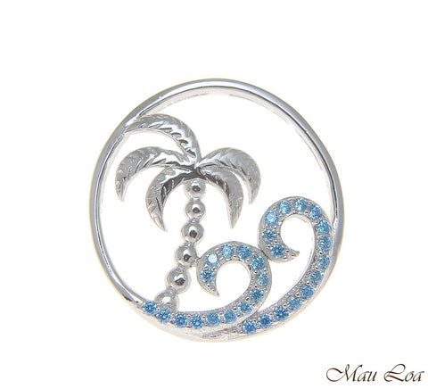 925 Silver Hawaiian Palm Tree Genuine Blue Topaz Ocean Wave Pendant