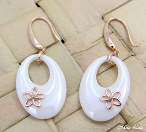925 Silver Pink Gold Hawaiian Plumeria Flower White Ceramic Oval Hook Earrings