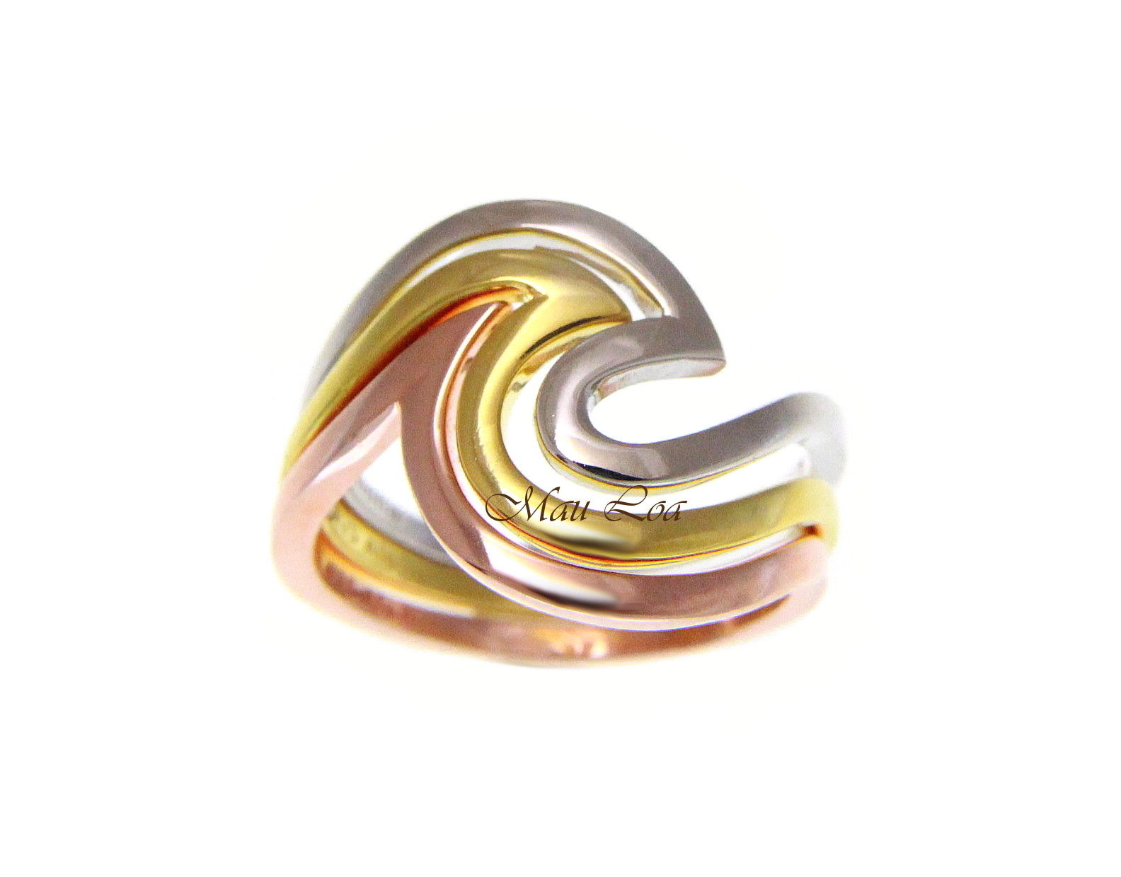 925 Sterling Silver Tricolor Plated Hawaiian Ocean Wave 3 in 1 Ring Size 5-10