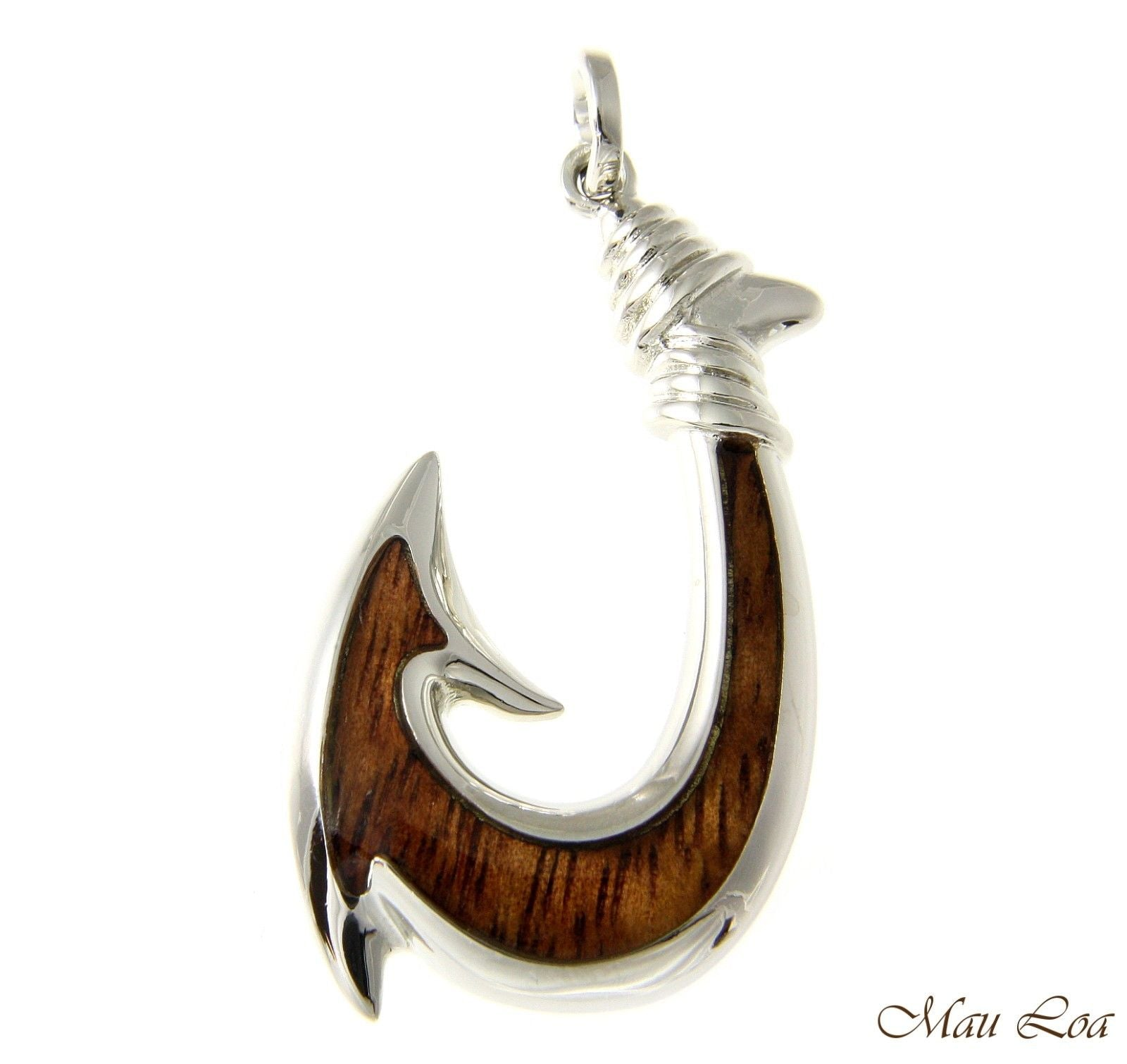 Koa Wood Hawaiian Wave Fish Hook Rhodium Silver Plated Brass Reversible Pendant