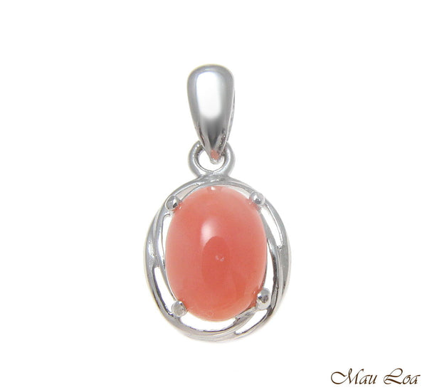 925 Sterling Silver Rhodium Genuine Natural 6x8mm Oval Pink Coral Pendant