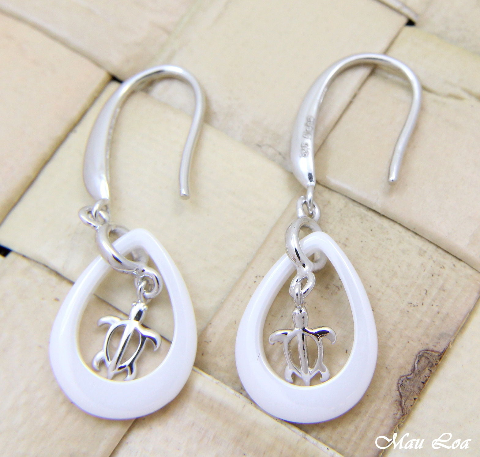 925 Silver Rhodium Hawaiian Honu Turtle White Ceramic Tear Drop Hook Earrings