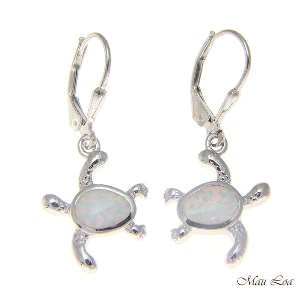 925 Sterling Silver Rhodium Hawaiian Honu Turtle White Opal Leverback Earrings
