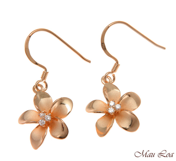 925 Silver Pink Rose Gold Hawaiian Plumeria Flower 3 CZ Wire Hook Earrings