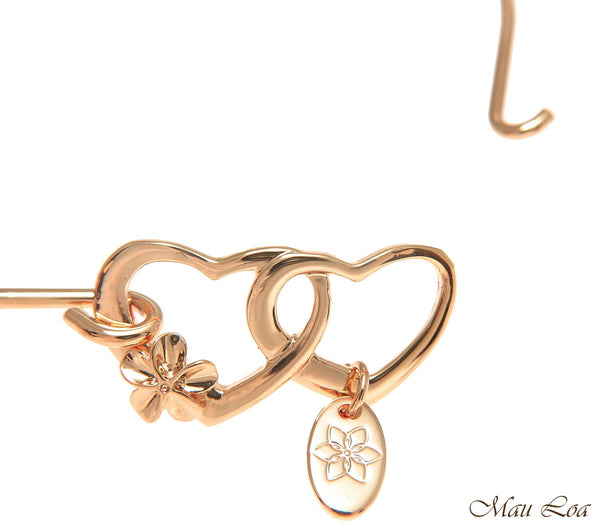 Pink Rose Gold Plated Brass Hawaiian Plumeria Flower Heart Open Bangle Bracelet