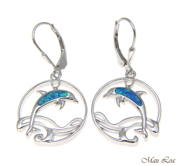925 Sterling Silver Rhodium Hawaiian Circle Wave Dolphin Opal Leverback Earrings