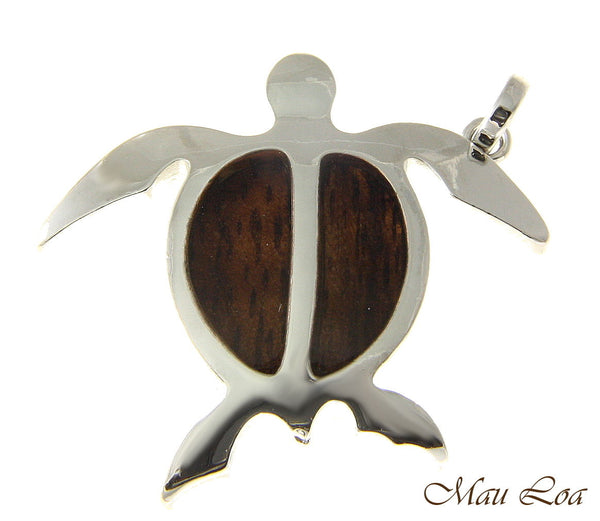 Koa Wood Hawaiian Honu Sea Turtle Rhodium Silver Plated Brass Pendant