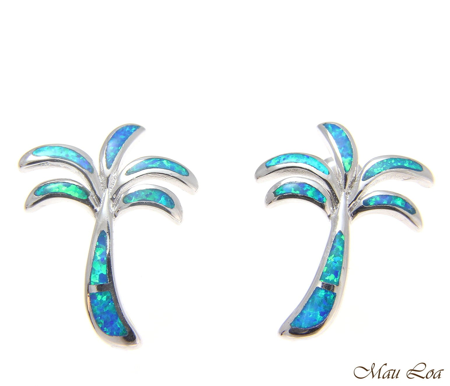 925 Sterling Silver Rhodium Hawaiian Palm Tree Blue Opal Post Stud Earrings