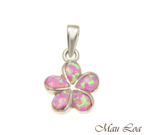925 Sterling Silver Rhodium Pink Opal Hawaiian Plumeria Flower Pendant 12-30mm