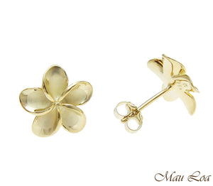 925 Silver Yellow Gold Hawaiian Plumeria Flower No CZ Stone Post Stud Earrings