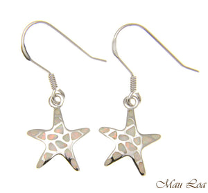925 Silver Rhodium Hawaiian Starfish Sea Star White Opal Hook Wire Earrings