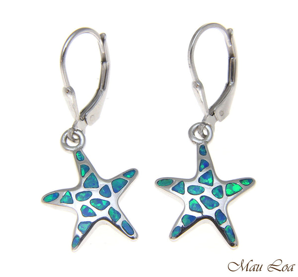 925 Silver Rhodium Hawaiian Starfish Sea Star Blue Opal Leverback Earrings