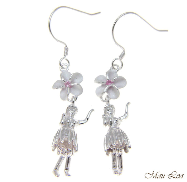 925 Silver Hawaiian Hula Girl Dancer Pink CZ Plumeria Flower Hook Wire Earrings