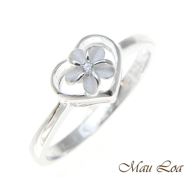 925 Sterling Silver Hawaiian Plumeria Flower CZ in Heart Ring Size 2-10