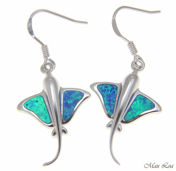 925 Sterling Silver Rhodium Hawaiian 17mm Stingray Blue Opal Hook Wire Earrings