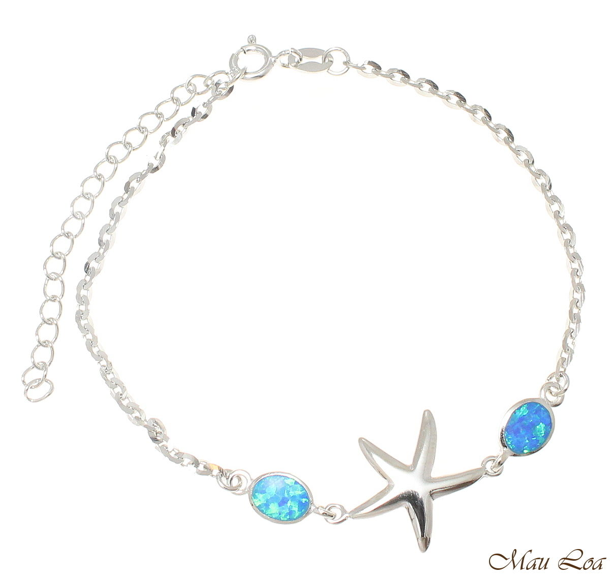 "925 Silver Rhodium Hawaiian Starfish Sea Star Opal Link Chain Bracelet 7""+"