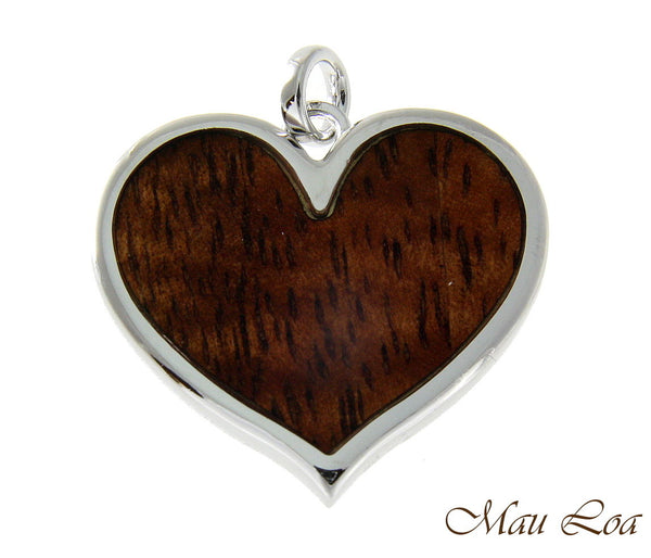 Koa Wood Hawaiian Scroll Heart Rhodium Silver Plated Brass Reversible Pendant