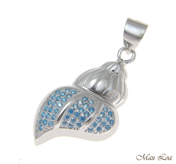925 Sterling Silver Genuine Blue Topaz Hawaiian Conch Shell Pendant