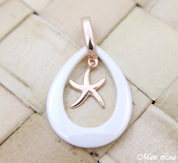 925 Silver Pink Gold Hawaiian Starfish Sea Star White Ceramic Tear Drop Pendant