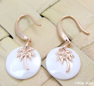 925 Silver Pink Rose Gold Hawaiian Palm Tree White Ceramic Circle Hook Earrings