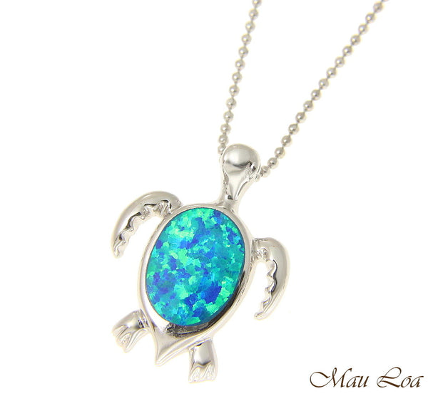 925 Sterling Silver Rhodium Hawaiian Honu Sea Turtle Opal CZ Slider Pendant