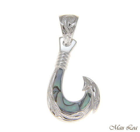 925 Sterling Silver Hawaiian Fish Hook Abalone Paua Shell Pendant S M L