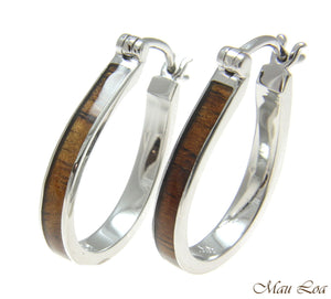 Koa Wood Hawaiian Rhodium Plated Brass 20x26mm Oval Hoop Snap Closure Earrings