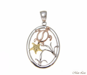 925 Sterling Silver Tricolor Hawaiian Honu Turtle Starfish in Oval Pendant
