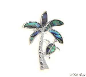 925 Sterling Silver Hawaiian Honu Turtle Palm Tree Abalone Paua Shell Pendant