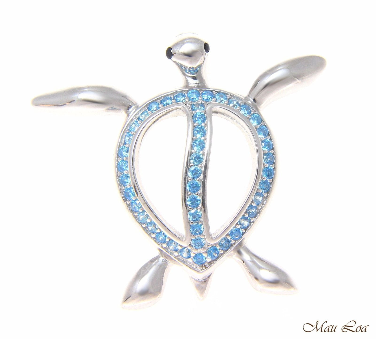 925 Silver Genuine Blue Topaz Hawaiian Sea Turtle Honu Slider Pendant