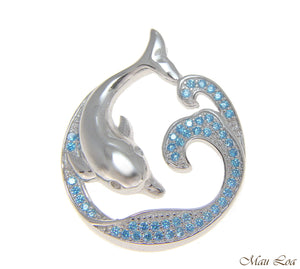 925 Silver Genuine Blue Topaz Hawaiian Ocean Wave Dolphin Slider Pendant