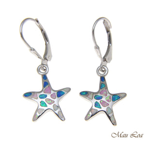 925 Silver Rhodium Hawaiian Starfish Sea Star Multi Opal Leverback Earrings