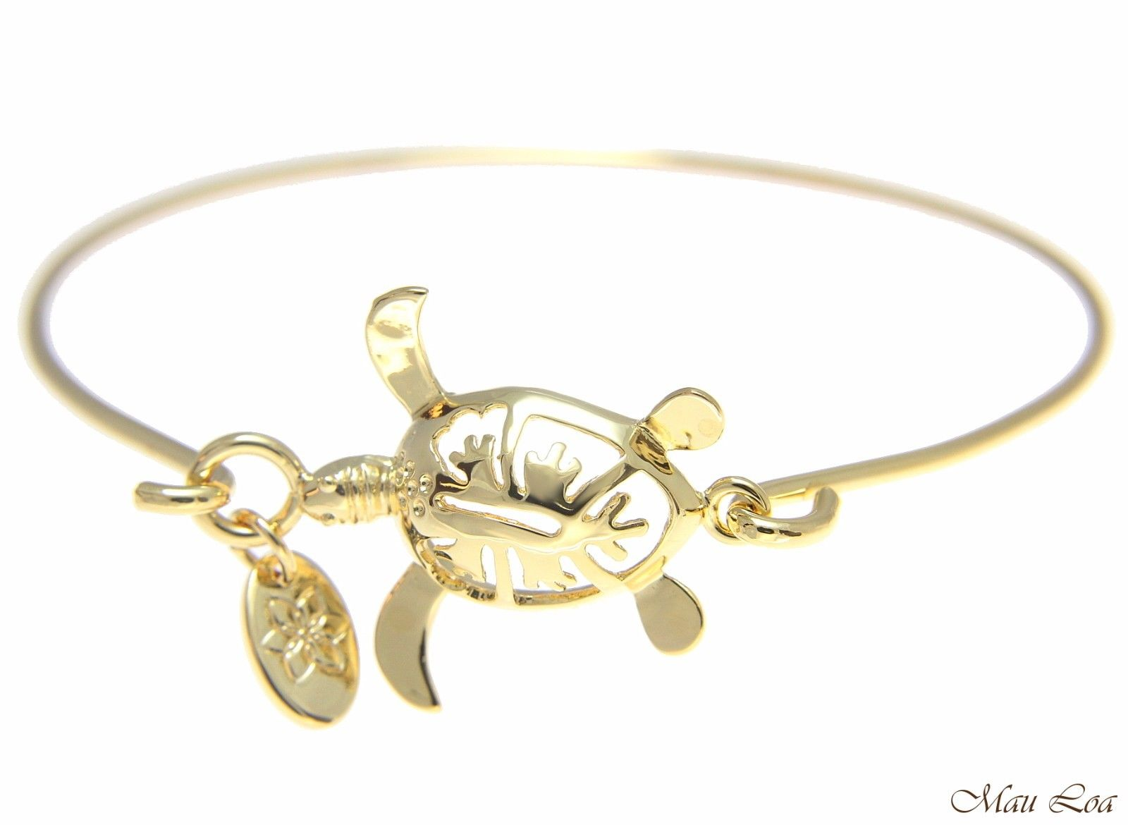 Yellow Gold Plated on Brass Hawaiian Hibiscus Honu Turtle Open Bangle Bracelet