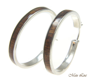 Koa Wood Hawaiian Rhodium Plated Brass 39mm Round Hoop Snap Closure Earrings