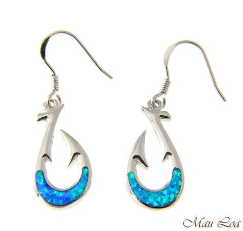 925 Sterling Silver Rhodium Hawaiian Fish Hook Blue Opal Hook Wire Earrings