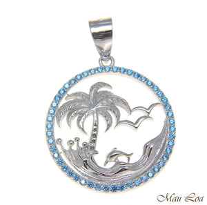 925 Silver Genuine Blue Topaz Hawaiian Palm Tree Dolphin Wave Pendant