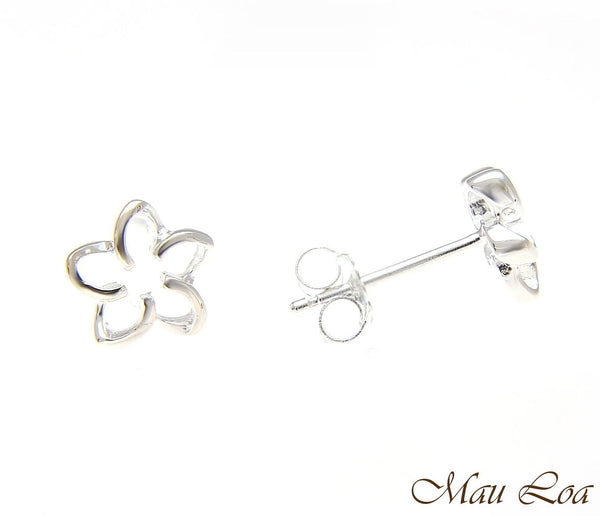 925 Silver Hawaiian Floating Outline Plumeria Flower Post Stud Earrings 8-18mm