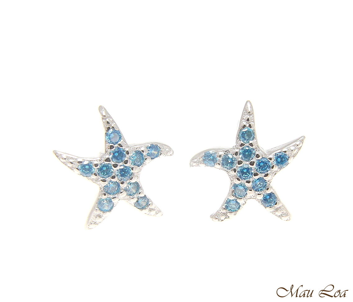 925 Sterling Silver Blue Topaz Hawaiian Starfish Star Post Stud Earrings