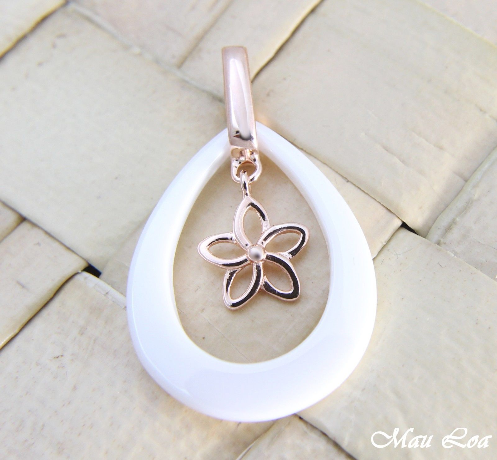 925 Silver Pink Gold Hawaiian Plumeria Flower White Ceramic Tear Drop Pendant
