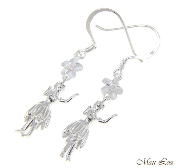 925 Sterling Silver Hawaiian Hula Girl Dancer Plumeria Flower Hook Wire Earrings