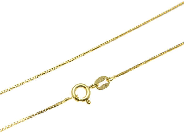 "Yellow Gold on 925 Sterling Silver Italian 1mm Box Chain Necklace 16"" - 22"""