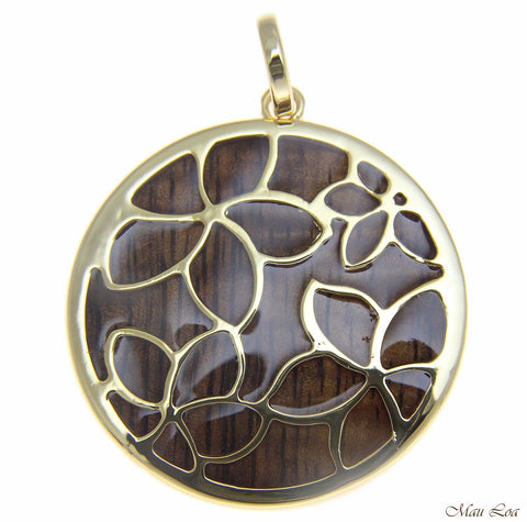 Koa Wood Hawaiian Scroll Plumeria Flower Yellow Gold Brass Reversible Pendant