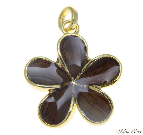 Koa Wood Hawaiian 28mm Plumeria Flower Yellow Gold Plated Brass Pendant