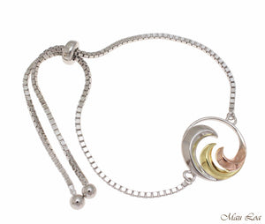 Silver 925 Tricolor Hawaiian Ocean Wave Sliding Bead Chain Adjustable Bracelet