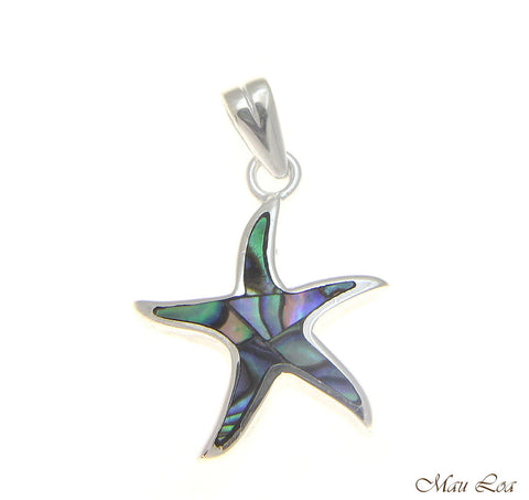 925 Sterling Silver Hawaiian 15mm Starfish Sea Star Abalone Paua Shell Pendant